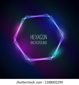 Vector abstract neon hexagon frame light effect background. Glowing decorative luminous geometric shape. Pink, blue and purple gleaming rim. Club, night party illumination, bar scribble signboard.