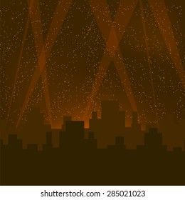 Vector Abstract Night City Background. Night City Buildings Silhouettes