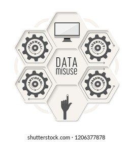 Vector abstract object with topic of data misuse. Vector concept for  printed materials, website, promotional materials.