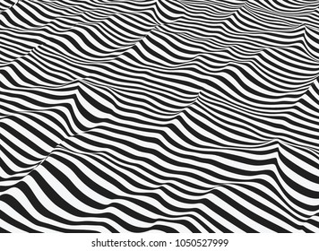 Vector abstract op art. Water line- art. Stylized flowing water. 3d optical illusion.