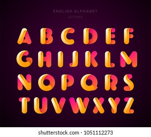 Vector abstract orange English alphabet. Material design, origami paper, funny, modern, glossy style. Letters collection