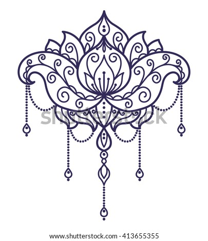 Vector Abstract Oriental Style Flower Lotus Stock Vector Royalty