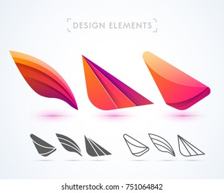 Vector abstract origami airplane wings. Logo elements. Material design, flat, line-art style