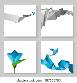 Vector abstract origami cards, geometric modern template.