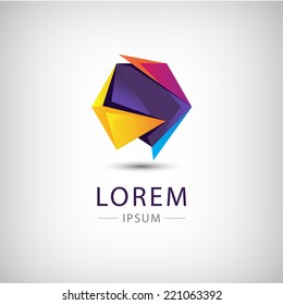 vector abstract origami colorful 3d icon, logo isolated