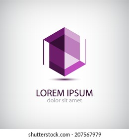 vector abstract origami crystal editable icon, logo isolated