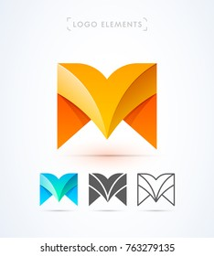 Vector abstract origami letter M logo design template. Material design, flat and line-art style