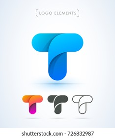 Vector abstract origami letter T logo template. Material design style