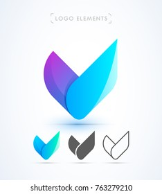 Vector abstract origami letter V logo design template. Material design, flat and line-art style. Application icon