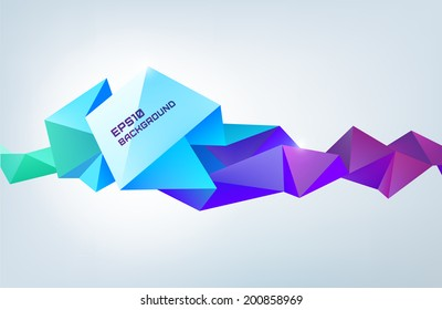 vector abstract origami rainbow background, futuristic banner. Facet shape colorful poster, horizontal orientation