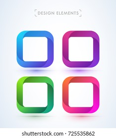 Vector abstract origami swirl frames. Design elements collection