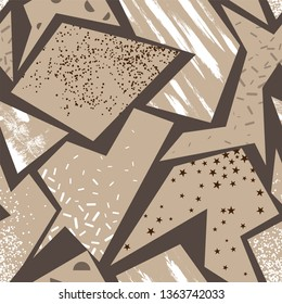 Vector abstract ornament seamless pattern with textures. Brownish beige and white. Dark brown background