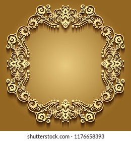 Vector abstract ornamental nature vintage frame. Modern color volumetric floral elements. Trendy craft style illustration