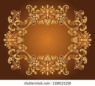 Vector abstract ornamental nature vintage border. Floral decorative colorful illustration