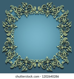 Vector abstract ornamental nature vintage frame. Modern color volumetric floral elements. Trendy craft style illustration