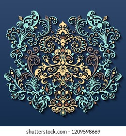 Vector abstract ornamental nature vintage card. Modern volumetric floral elements. Trendy craft style illustration