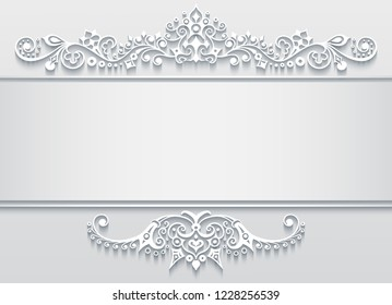 Vector abstract ornamental nature vintage frame. Modern volumetric floral elements. Trendy craft style illustration