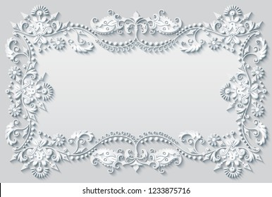 Vector abstract ornamental nature vintage frame. Modern white volumetric floral elements. Trendy craft style illustration