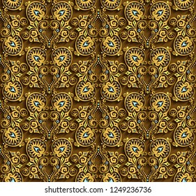 Vector abstract ornamental nature vintage background. Modern volumetric floral elements. Trendy craft style seamless  illustration
