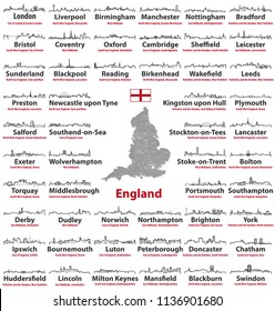 vector abstract outline icons of England major cities. Map of England with cities and administrative divisions borders