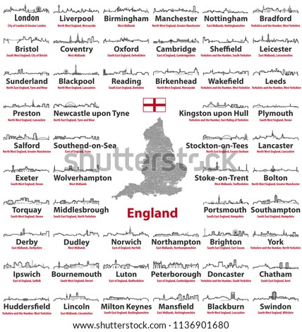 Map Of England Showing Major Cities.Vector Abstract Outline Icons England Major Stock Vector Royalty