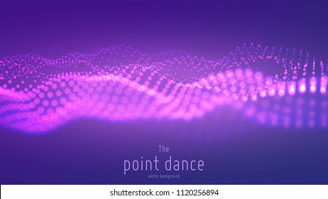 Vector abstract particle wave, points array with shallow depth of field. Futuristic illustration. Technology digital splash or explosion of data points. Pont dance waveform. Cyber UI, HUD element