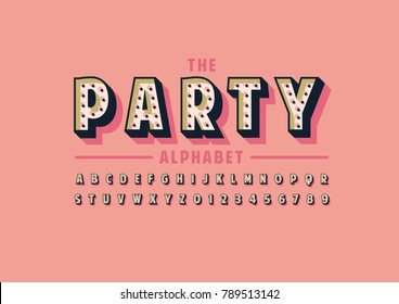 Vector of abstract party font and alphabet