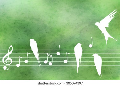 Vector abstract  pattern with blue watercolor texture and hand drawn  music notes  and birds. Perfect  cards for any  kind of design, birthday and other holiday