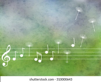 Vector abstract  pattern with blue watercolor texture and hand drawn  music notes  and dandelion. Perfect  cards for any  kind of design, birthday and other holiday
