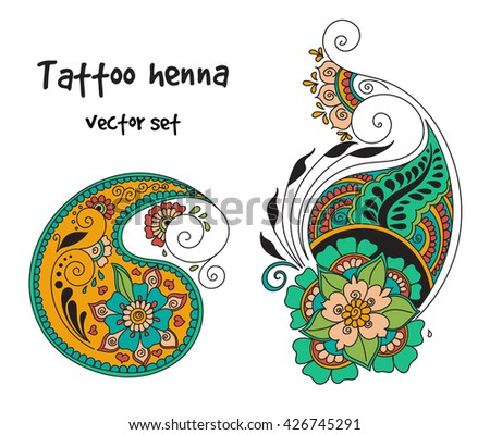 Vector Abstract Pattern Tattoo Henna Paisley Stock Vector Royalty