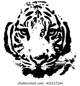Vector abstract pattern of a Tiger head.