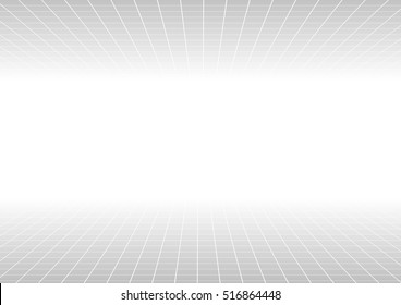 Vector : Abstract perspective grid line on white background