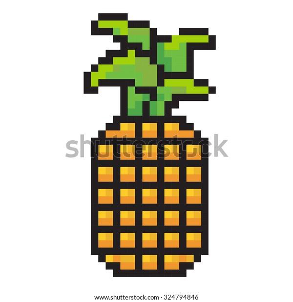 Vector Abstract Pixel Art Pineapple Background Stock Vector