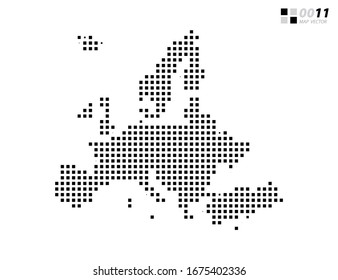 Vector abstract pixel black of Europe map. Organized in layers for easy editing.