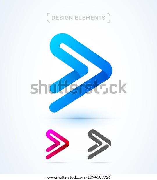 Vector Abstract Play Button Arrow Logo Stock Vector