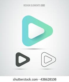 Vector abstract play icon design. Video player application logo icon design set. Line art.