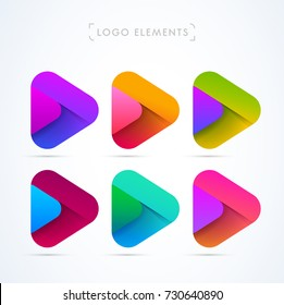 Vector abstract play icon logo collection. Material design style