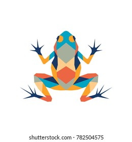 Vector. Abstract polygon frog. The geometric colorful  symbol of a toad.