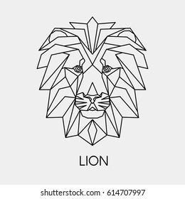 Vector. Abstract polygon the head of a lion. Geometric line African animal