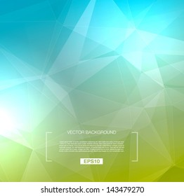 Vector abstract polygonal background - green / blue
