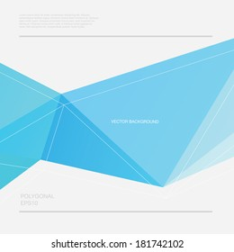 Vector abstract polygonal blue geometric background