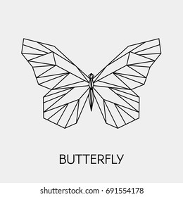 Vector. Abstract polygonal butterfly. Geometric linear butterfly