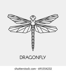 Vector. Abstract polygonal dragonfly. Geometric linear dragonfly.
