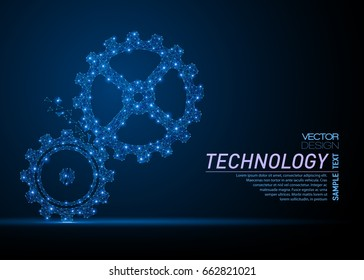 Vector abstract polygonal gears. Business wireframe. Thin line concept of gears for cooperation or teamwork concept. Blue structure style illustration consisting of point, mesh and lines.