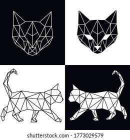 Vector abstract polygonal geometric cat