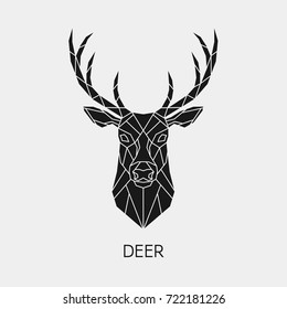 Abstract Polygonal The Head Of A Deer Geometric Black Animal
