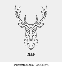 Vector. Abstract polygonal the head of a deer. Geometric linear animal