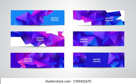 Vector abstract polygonal, mosaic, geometric, triangular pattern banners collection. Purple facet 3d shape horizontal backgrounds, headers