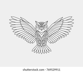 Vector. Abstract polygonal owl with open wings. Linear geometric symbol bird.
