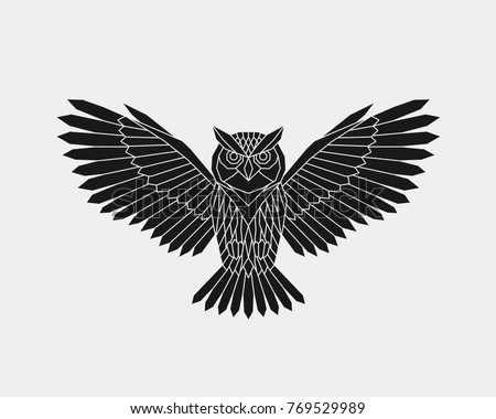 Vector Abstract Polygonal Owl Open Wings Stock Vector Royalty Free